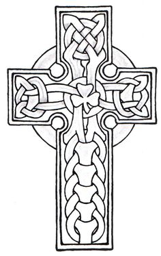 Celtic Cross 01 by ppunker on DeviantArt Celtic Signs, Celtic Symbols, Celtic Art, Celtic Knots, Celtic Dragon, Cross Coloring Page, Colouring Pages, Cross Drawing, Celtic Cross Tattoos