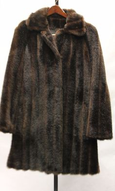 GALLERY Glamorous Dark Brown Faux Fur Lined Full Length Coat Jacket Sz M 860168 #Gallery #BasicCoat #Evening