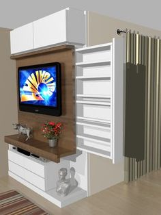 Phenomenal Space-Saving TV Wall Units You Must Check Out. TV wall units can be our favourite part too if we choose the best design. Tv Unit Design, Tv Wall Design, Living Room Tv, Home And Living, Home Organization, Space Saving, Small Spaces, Home Furniture, New Homes
