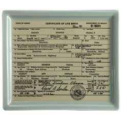 BACKORDERED: Obama Birther Certificate Tray