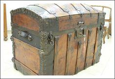 Baule cassapanca forziere da nave! Scrigno Datato 1871 restaurato antiquariato antico