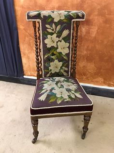 Tapestry Antique 19th Century Victorian Prie Dieu Chair Lilies Walnut