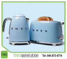 """HAHHAHAHAHA """"This Old House: This chrome-trimmed plug-in kettle and two-slice toaster, members of Smeg's new Retro Style collection, sport stout powder-coated bodies in seven cheerful colors."""
