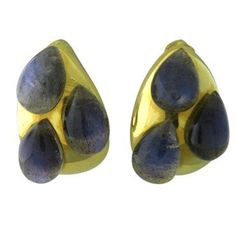 New Pomellato 18k Gold Labradorite Teardrop Earrings