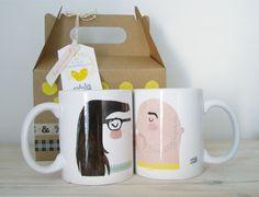 """Kit 2 tazas personalizadas """"enamorrados"""" de saludos al pollo por DaWanda.com"""