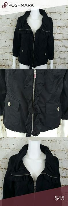 """White House Black Market sateen finish jacket Excellent condition like new WHBM jacket, this jacket has so many details!  Ruffled front zip, 2 front patch pockets gathered elastic waist in back for a flattering fit.  Drawstring toggle waist elastic 3/4 length sleeves.   19"""" across from armpit to armpit and 24"""" long from shoulder to hem White House Black Market Jackets & Coats"""