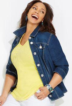 Plus Size Rhinestone Denim Jacket | Plus Size Jackets & Blazers | Avenue