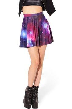 Multi Color Galaxy Print Skater Skirt