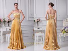 Superb Strapless Long Golden Dress