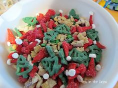 Seems like making the santa hats is a little excessive but they are cute andthe trail mix is cute too once it's done.
