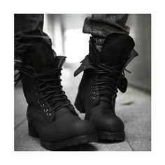 Mens Black Leather Lace Up Gothic Punk Military Style Battle Boots... via Polyvore featuring mens, men's shoes and men's boots