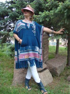 Купить Пончо-туника (авторское ручное вязание) - морская волна, тёмно-синий…