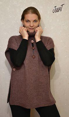 Urban Poncho Pullover pattern by Kris Basta - Kriskrafter, LLC Poncho Knitting Patterns, Knitting Designs, Hand Knitting, Hand Knitted Sweaters, Knitted Poncho, How To Start Knitting, Knitting For Beginners, Knit In The Round, Knit Or Crochet