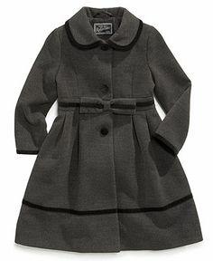 S. Rothschild Kids Coat, Girls or Little Girls Velvet Bow Trim Coat - Kids - Macy's