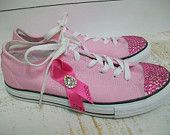 Pink Shoes Breast Cancer Awareness Pink Ribbon Shoes Pink Cure Converse Tennis Shoes Swarovski Pink Ribbon Shoes