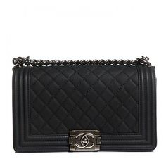 CHANEL Iridescent Caviar Quilted Medium Boy Flap Black ❤ liked on Polyvore featuring bags, handbags, shoulder bags, bolsas, clutches, purses, quilted chain strap shoulder bag, leather shoulder handbags, leather handbags and evening handbags