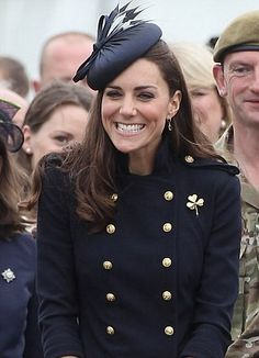 Catherine, Duchess of Cambridge smiles as she attends the Irish Guards Medal Parade at the Victoria Barracks on June 25, 2011 in Windsor, England. The Credit: (Chris Jackson, AFP/Getty Images)