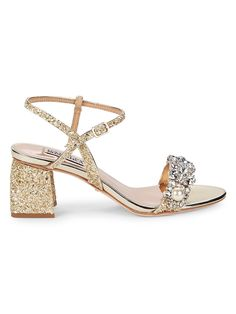 Badgley Mischka, Block Heels, Open Toe, Ankle, Sandals, Leather, Gold, Shoes, Women