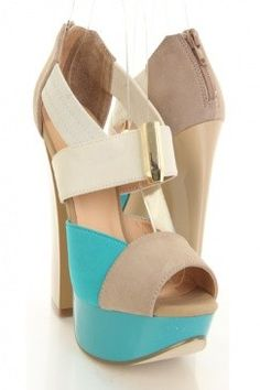 Colorblock open toe heels.