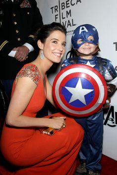 Cobie Smulders and Mini Captain America! #TheAvengersEvent