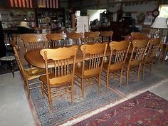 S.Bent & Bros.Solid Oak Dining Table W/ 4 Leaves & ( 12 Chairs ) ( Best Deal.