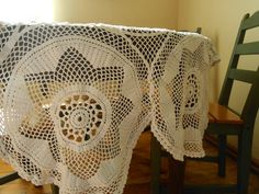 Vintage crochet round table cloth Lace table by TextilesVintage
