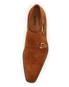 Magnanni Double Monk-Strap Suede Loafer, Brandy
