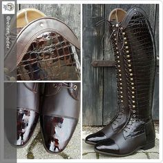 Another beautiful and stylish Bia residing in Germany - The Bia is certainly popping up all over Europe.   Chocolate brown with high gloss croc outer panel, toe and heel and detailing on arch.  #perfectfit #stylemyboots #rideinstyle #celerisuk #amazonasueca #equestrianfashion #beautifulboots