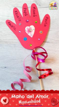 Hand of Love – Valentine's Day Craft – Tea Time Monkeys - Valentine's Day Saint Valentine, Valentine Theme, Valentine Crafts For Kids, Valentine Decorations, Love Valentines, Summer Crafts, Fall Crafts, Valentine Gifts, Diy And Crafts
