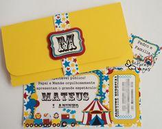 convite artesanal infantil circo encantado bilhete ingresso boarding pass palhaço aniversário