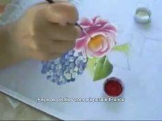 Pintura em Tecido - Passo a Passo Rosas, Hortênsias e Margaridas - YouTube