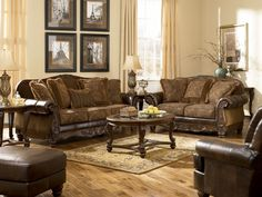 Traditional brown fabric wood trim sofa couch set living room furniture fabric sofa with wood trim sofas with wood accents exposed wood frame sofa & couches Antique Living Rooms, Traditional Living Room Furniture, Room Furniture Design, Home Furniture, Furniture Sets, Tuscan Furniture, Bedroom Furniture, Modern Furniture, Italian Furniture