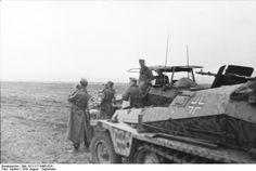 August 1942 Sowjetunion-Süd.- Vorstoß auf Stalingrad, leichte Schützenpanzer (Sd.Kfz. 253, im Hintergrund Sd.Kfz. 250/3) in offenem Gelände, Soldaten beim Beobachten, Offizier mit Ritterkreuz