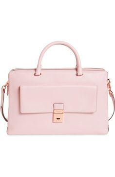 TED BAKER Luggage Lock Leather Satchel. #tedbaker #bags #shoulder bags #hand bags #leather #satchel #lining #