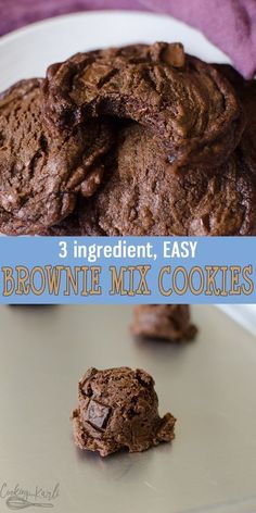 brownie cookies Brownie Mix Cookies are rich fudgey cookies made from only 3 ingredients! Easily thrown together, these chocolate cookies will be your go-to for now on! Easy, adaptable and delicious! Brownie Mix Recipes, Brownie Mix Cookies, Cake Mix Cookie Recipes, Yummy Cookies, Chocolate Chip Cookies, Chocolate Chips, Brownie Mix Desserts, Easy Chocolate Cookie Recipes, Cookies From Cake Mix