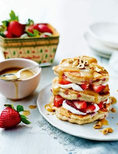 Strawberry ricotta pancakes with salted caramel sauce