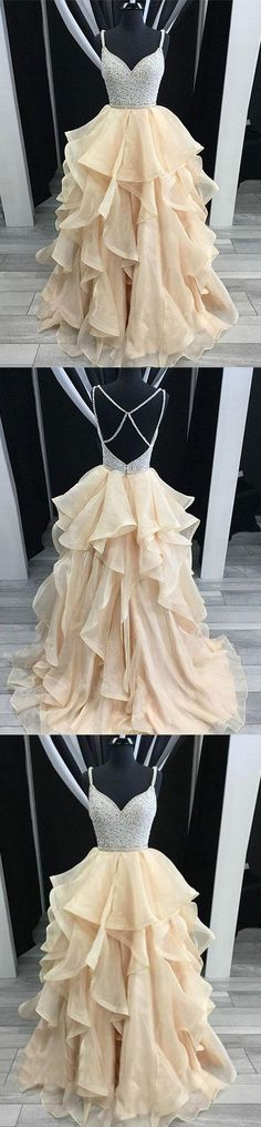 Unique champagne tulle sequin long prom dress, champagne evening dress, M1293#prom #promdress #promdresses #longpromdress #promgowns #promgown #2018style #newfashion #newstyles #2018newprom #eveninggown #champagne #tulle #sequin #eveningdress