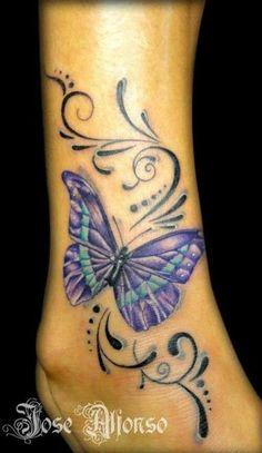 Butterfly tattoo by JulianaaXOXO - Cute Tattoos Coeur Tattoo, Tattoo Femeninos, Tatoo Henna, Tattoo Hals, Ankle Tattoos, Foot Tattoos, Body Art Tattoos, Tribal Tattoos, Gemini Tattoos