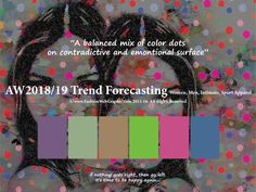 AutumnWinter 2018/2019 Trend Forecasting for Women,Men,Intimate, Sport Apparel - A balanced mix of color dots on contradictive and emontional surface. www.JudithNg.com