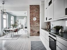 Grey kitchen, exposed brick wall and blue paintwork Brick Interior, Kitchen Interior, New Kitchen, Interior Architecture, Kitchen Dining, Interior Design, Loft Kitchen, Green Apartment, Apartment Interior
