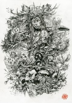 """""""Pan"""", Handrawing - Inkpen on paper - PAN is known to be the divinity of nature, half man half goat, and son of Hermes. ..."""
