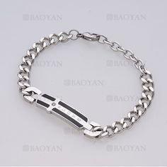 brazalete con cruz de plateado en acero para hombre-SSBTG1125132