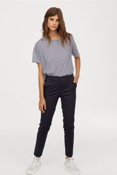 Chinos in airy, woven cotton fabric. Zip fly, side pockets, and welt back pockets. Blue Chinos, Slacks For Women, Clothes For Women, Chinos Women, Joggers Outfit, Outfits Damen, Joggers Womens, China, Sun