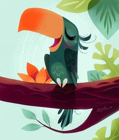 Beautiful bird illustration by- Brittney Lee ( Fun greeen and orange colors used for the bird of paradise painting. Simple tropical leaves and flowers in the background. Flying Bird Drawing, Bird Drawings, Easy Drawings, Brittney Lee, Tiki Art, Ipad Art, Bird Illustration, Triptych, Cute Art
