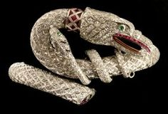 A Fabulous Diamond And Ruby Platinum 'snake' Bracelet