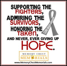 May is Brain Cancer awareness month. Support...Admire...Honor...and never give up Hope.
