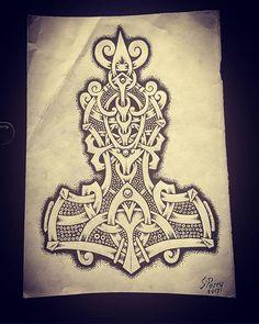 Thors hammer art or tattoo Viking Tattoo Sleeve, Norse Tattoo, Celtic Tattoos, Sleeve Tattoos, Body Art Tattoos, Wiccan Tattoos, Inca Tattoo, Indian Tattoos, Viking Symbols