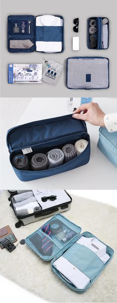 Business Travel is no longer a hassle with the  Business Travel Pouch Set! This set has pouches designed to help you organize conveniently, and make packing your items quick and easy!