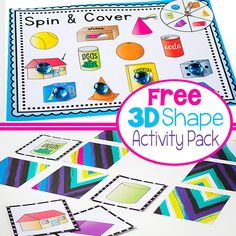 4 fun activities for learning about shapes: Shape Spin & Cover, Memory Game, Flip Book and picture supported sentence building cards. Kids will love learning about shapes with these hands-on activities! 3d Shapes Activities, 3d Shapes Worksheets, Shapes Worksheet Kindergarten, Learning Shapes, Kindergarten Math, Preschool Activities, Preschool Shapes, Nursery Activities, Numbers Preschool