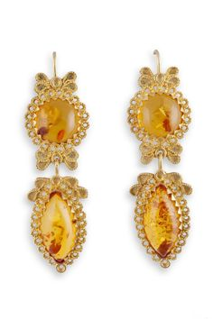 18K gold filigree earrings with Ambers. Orecchini in filigrana in oro 18Kt con Ambre loredanamandas.com